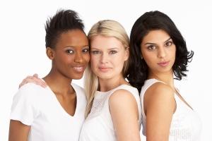 Portrait Of Three Attractive Young Women In Studio